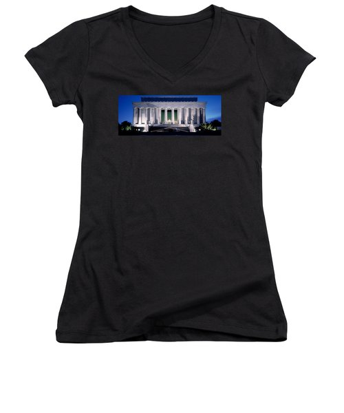 Lincoln Memorial At Dusk, Washington Women's V-Neck T-Shirt (Junior Cut) by Panoramic Images