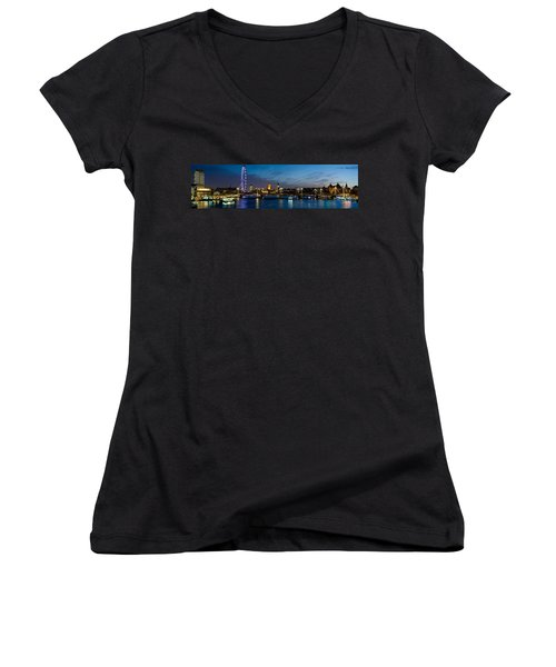 London Eye And Central London Skyline Women's V-Neck T-Shirt (Junior Cut) by Panoramic Images