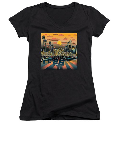 Los Angeles Skyline Abstract 2 Women's V-Neck T-Shirt (Junior Cut) by Bekim Art