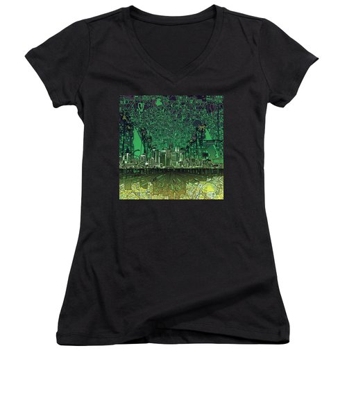 Los Angeles Skyline Abstract 6 Women's V-Neck T-Shirt (Junior Cut) by Bekim Art