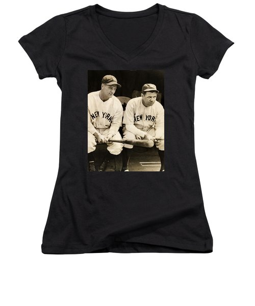Lou Gehrig And Babe Ruth Women's V-Neck T-Shirt (Junior Cut) by Bill Cannon