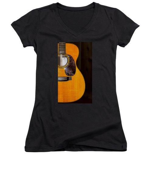 Martin Guitar  Women's V-Neck T-Shirt (Junior Cut) by Bill Cannon
