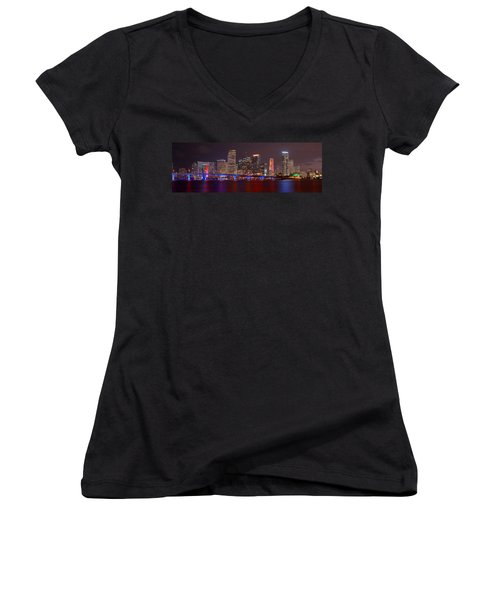 Miami Skyline At Night Panorama Color Women's V-Neck T-Shirt (Junior Cut) by Jon Holiday
