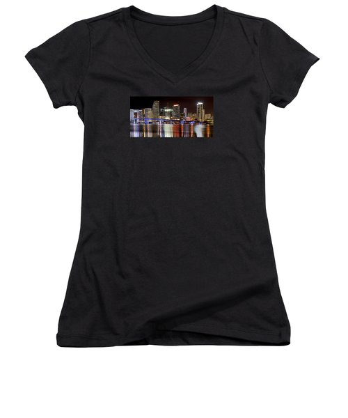 Miami Skyline Women's V-Neck T-Shirt (Junior Cut) by Brendan Reals
