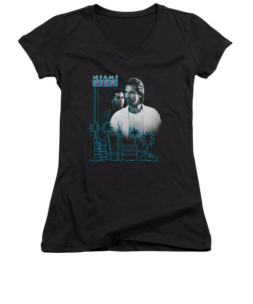 Miami Vice - Looking Out Women's V-Neck T-Shirt (Junior Cut) by Brand A