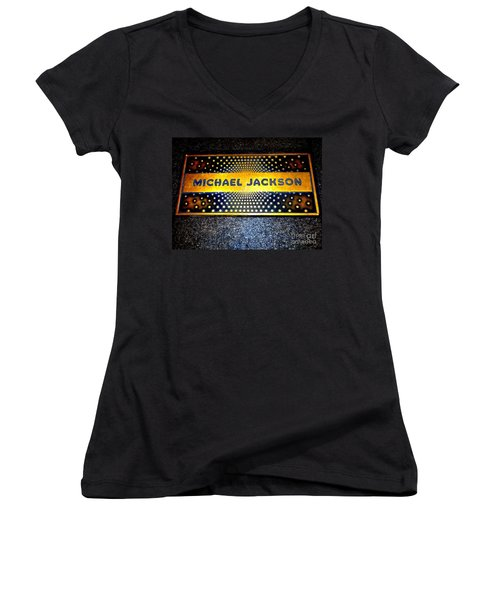 Michael Jackson Apollo Walk Of Fame Women's V-Neck T-Shirt (Junior Cut) by Ed Weidman