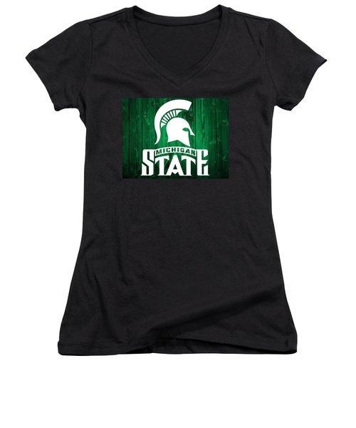 Michigan State Barn Door Women's V-Neck T-Shirt (Junior Cut) by Dan Sproul