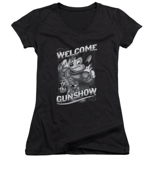 Mighty Mouse - Mighty Gunshow Women's V-Neck T-Shirt (Junior Cut) by Brand A