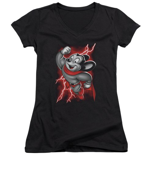 Mighty Mouse - Mighty Storm Women's V-Neck T-Shirt (Junior Cut) by Brand A