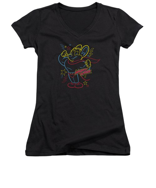Mighty Mouse - Neon Hero Women's V-Neck T-Shirt (Junior Cut) by Brand A