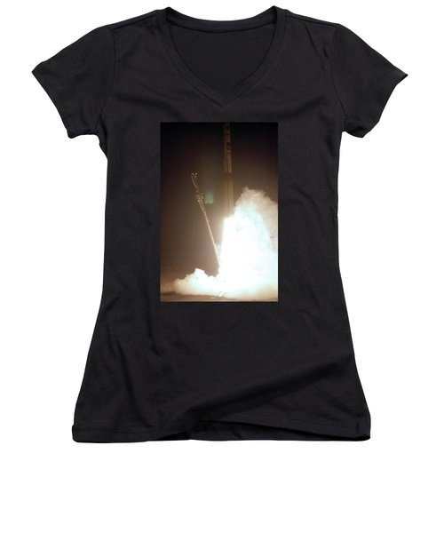 Minotaur Rocket Launch Women's V-Neck T-Shirt (Junior Cut) by Science Source