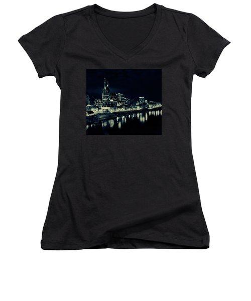 Nashville Skyline Reflected At Night Women's V-Neck T-Shirt (Junior Cut) by Dan Sproul