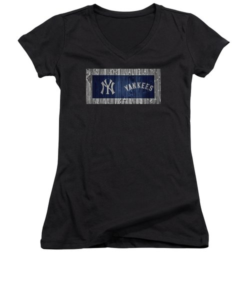 New York Yankees Barn Door Women's V-Neck T-Shirt (Junior Cut) by Dan Sproul