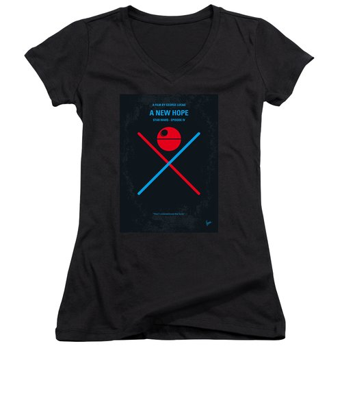 No154 My Star Wars Episode Iv A New Hope Minimal Movie Poster Women's V-Neck T-Shirt (Junior Cut) by Chungkong Art