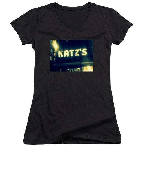 Nyc's Famous Katz's Deli Women's V-Neck T-Shirt (Junior Cut) by Paulo Guimaraes