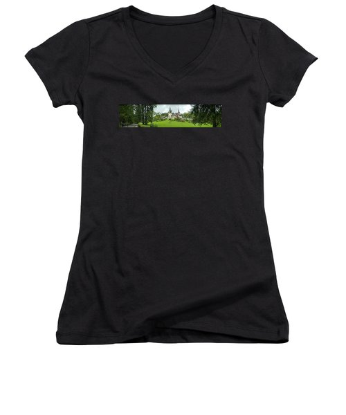 Peles Castle In The Carpathian Women's V-Neck T-Shirt (Junior Cut) by Panoramic Images