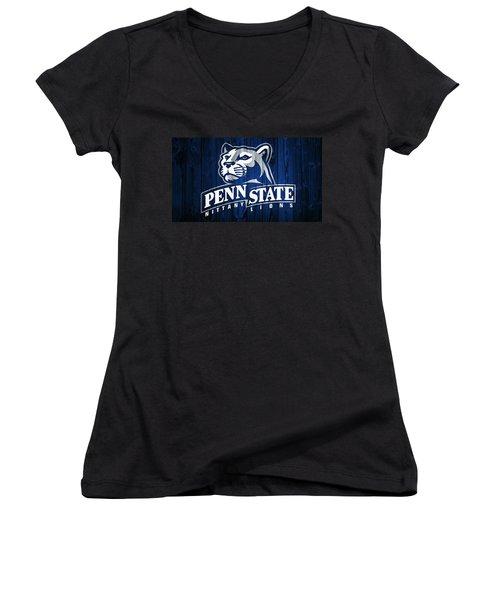 Penn State Barn Door Women's V-Neck T-Shirt (Junior Cut) by Dan Sproul