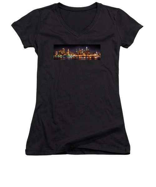 Philadelphia Philly Skyline At Night From East Color Women's V-Neck T-Shirt (Junior Cut) by Jon Holiday