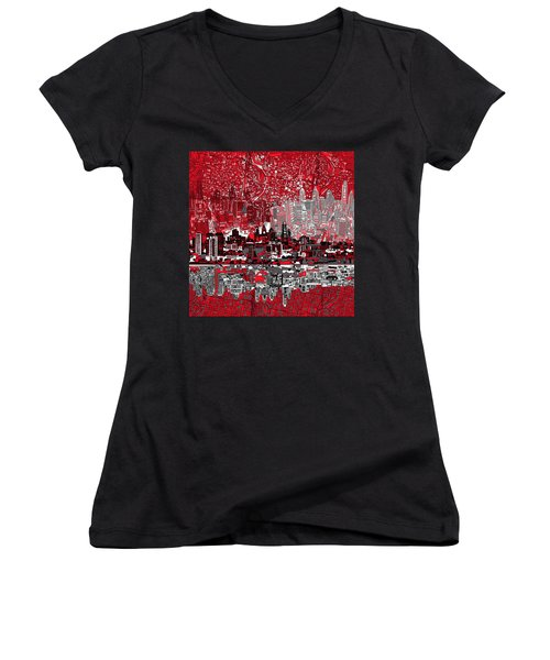 Philadelphia Skyline Abstract 4 Women's V-Neck T-Shirt (Junior Cut) by Bekim Art