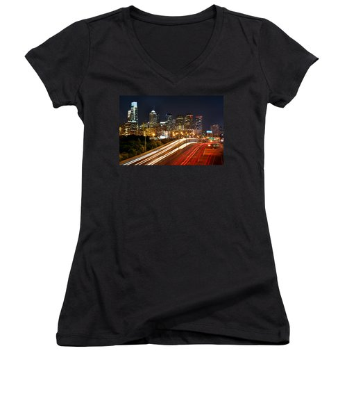 Philadelphia Skyline At Night In Color Car Light Trails Women's V-Neck T-Shirt (Junior Cut) by Jon Holiday
