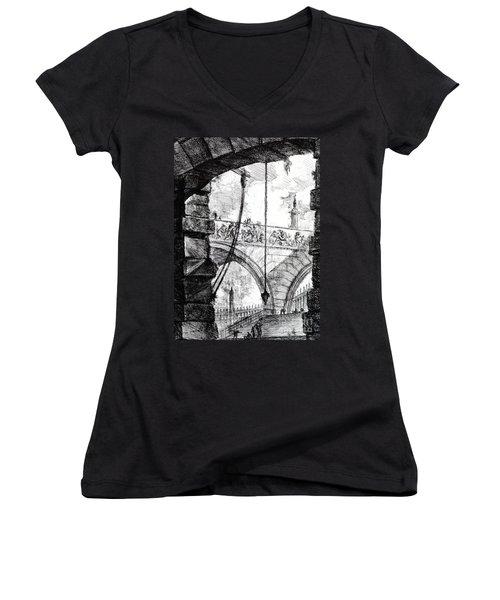 Plate 4 From The Carceri Series Women's V-Neck T-Shirt (Junior Cut) by Giovanni Battista Piranesi