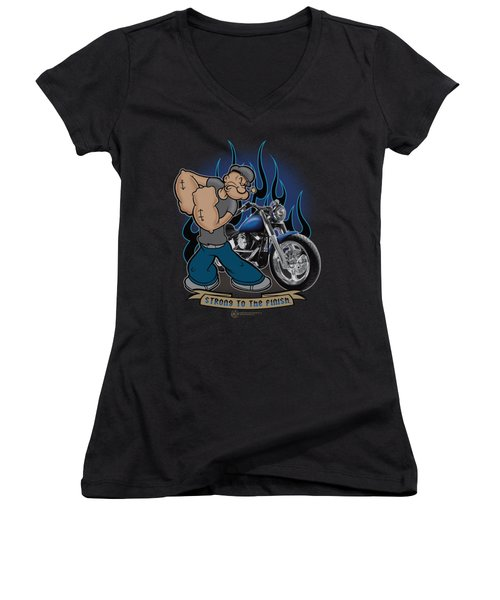 Popeye - Biker Popeye Women's V-Neck T-Shirt (Junior Cut) by Brand A