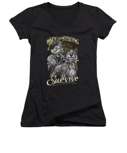 Popeye - Only The Strong Women's V-Neck T-Shirt (Junior Cut) by Brand A