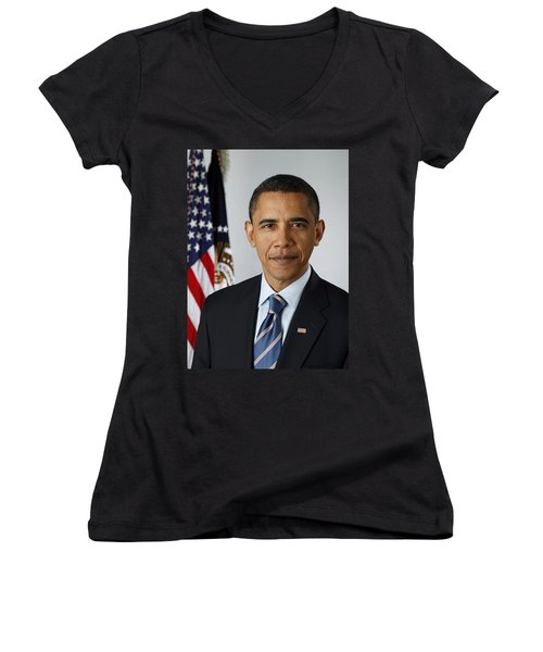 President Barack Obama Women's V-Neck T-Shirt (Junior Cut) by Pete Souza