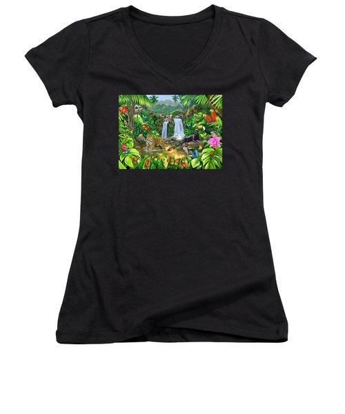 Rainforest Harmony Variant 1 Women's V-Neck T-Shirt (Junior Cut) by Chris Heitt