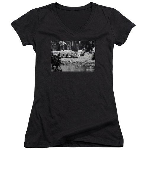 Rhino Nap Time Women's V-Neck T-Shirt (Junior Cut) by Thomas Woolworth