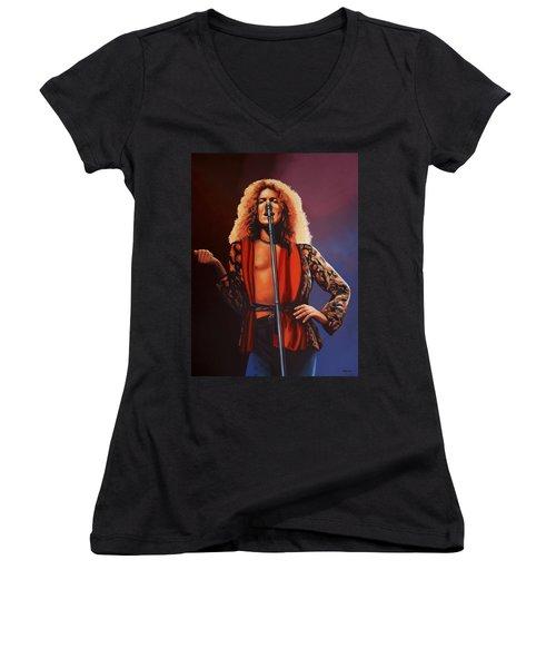Robert Plant Of Led Zeppelin Women's V-Neck T-Shirt (Junior Cut) by Paul Meijering