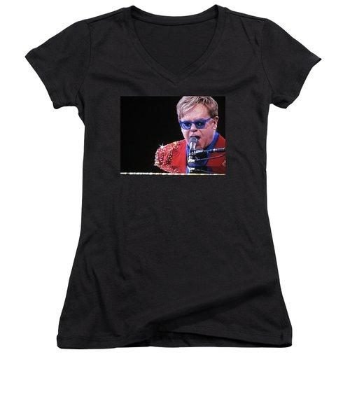Rocket Man Women's V-Neck T-Shirt (Junior Cut) by Aaron Martens