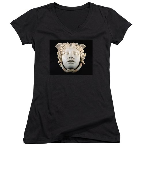 Rondanini Medusa, Copy Of A 5th Century Bc Greek Marble Original, Roman Plaster Women's V-Neck T-Shirt (Junior Cut) by .