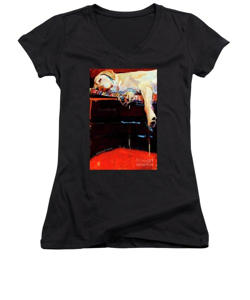 Sacked Women's V-Neck T-Shirt (Junior Cut) by Molly Poole