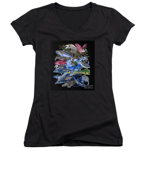 Save Our Seas In008 Women's V-Neck T-Shirt (Junior Cut) by Carey Chen