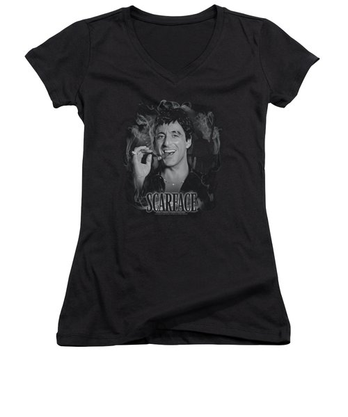 Scarface - Smokey Scar Women's V-Neck T-Shirt (Junior Cut) by Brand A