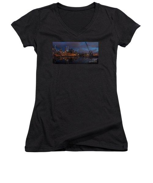 Seattle Night Skyline Women's V-Neck T-Shirt (Junior Cut) by Mike Reid