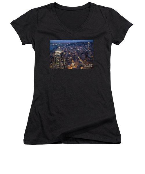 Seattle Urban Details Women's V-Neck T-Shirt (Junior Cut) by Mike Reid