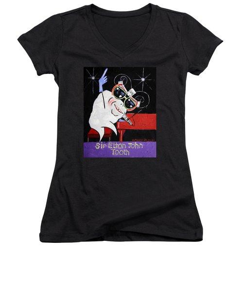 Sir Elton John Tooth  Women's V-Neck T-Shirt (Junior Cut) by Anthony Falbo
