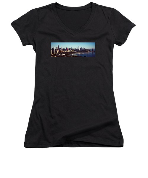 Skyscrapers At The Waterfront, Hancock Women's V-Neck T-Shirt (Junior Cut) by Panoramic Images