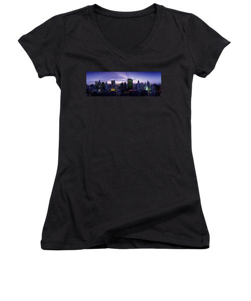 Skyscrapers, Chicago, Illinois, Usa Women's V-Neck T-Shirt (Junior Cut) by Panoramic Images