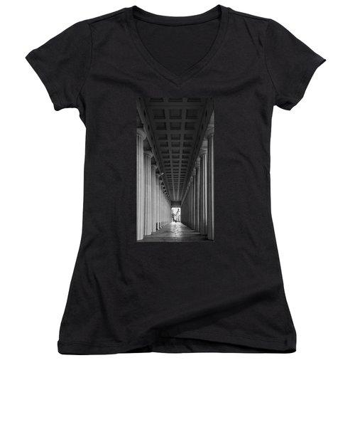 Soldier Field Colonnade Chicago B W B W Women's V-Neck T-Shirt (Junior Cut) by Steve Gadomski