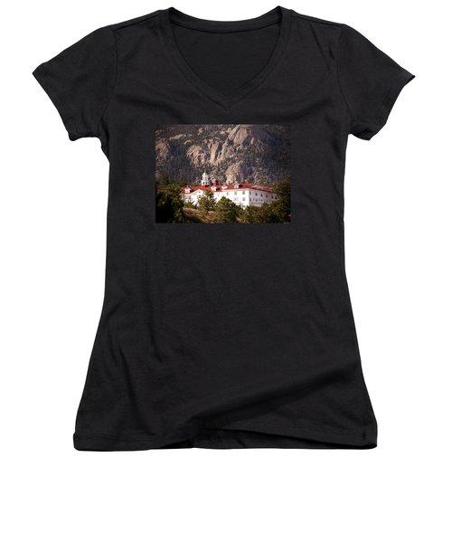 Stanley Hotel Estes Park Women's V-Neck T-Shirt (Junior Cut) by Marilyn Hunt