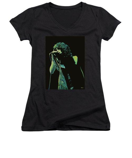 Steven Tyler 2 Women's V-Neck T-Shirt (Junior Cut) by Paul Meijering