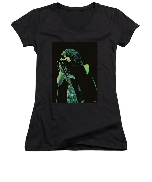 Steven Tyler 2 Women's V-Neck T-Shirt (Junior Cut) by Paul Meijering