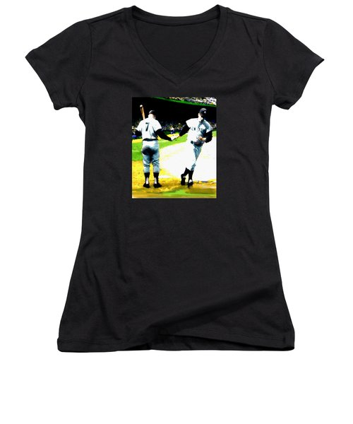 Summer Of The Gods  Iv 1961 Mickey Mantle Women's V-Neck T-Shirt (Junior Cut) by Iconic Images Art Gallery David Pucciarelli