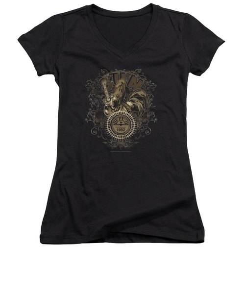 Sun - Scroll Around Rooster Women's V-Neck T-Shirt (Junior Cut) by Brand A