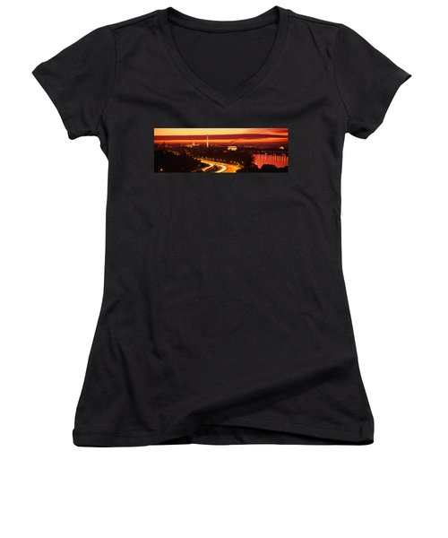 Sunset, Aerial, Washington Dc, District Women's V-Neck T-Shirt (Junior Cut) by Panoramic Images
