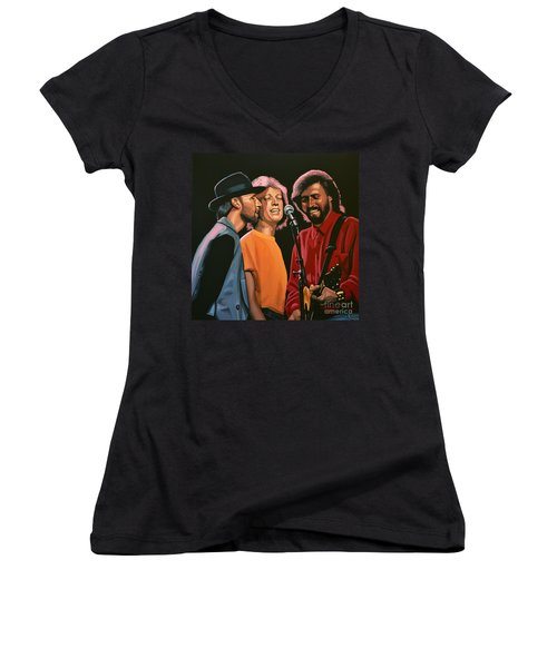 The Bee Gees Women's V-Neck T-Shirt (Junior Cut) by Paul Meijering