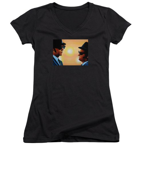 The Blues Brothers Women's V-Neck T-Shirt (Junior Cut) by Paul Meijering
